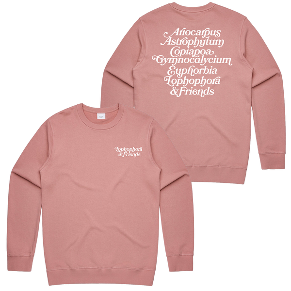 'Lophophora & Friends' Crewneck Sweatshirt (Rose)