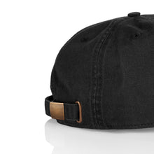 Load image into Gallery viewer, 'Linked' Unstructured 6 Panel StrapBack Hat (Black)