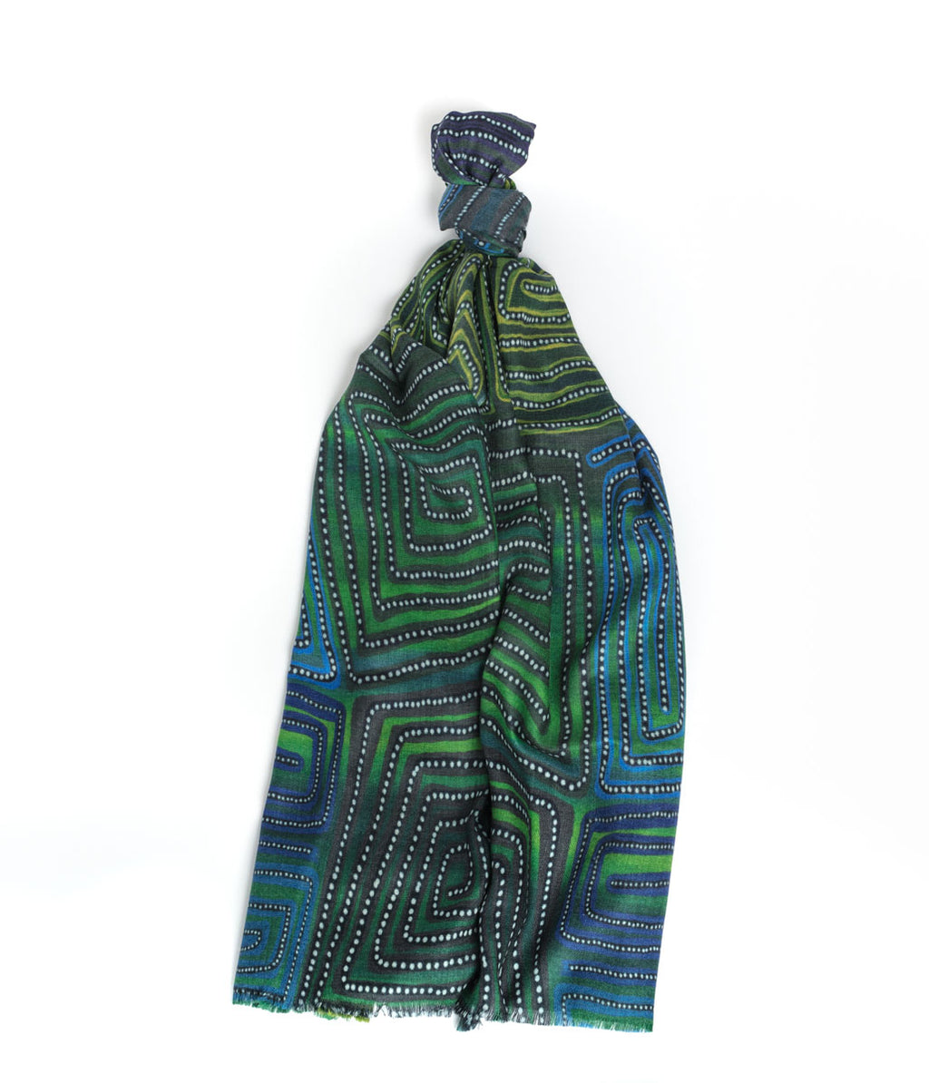 Cashmere Scarf - Natures Ants Blue