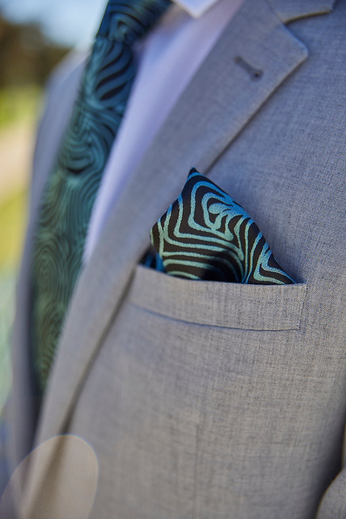 Pocket Square - Emu Feathers (Blue)