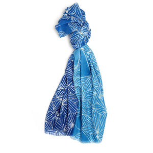 Cashmere Scarf - Gathering Mussels : Blue