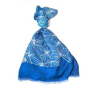 Silk Cotton Scarf - Gathering Mussels Blue