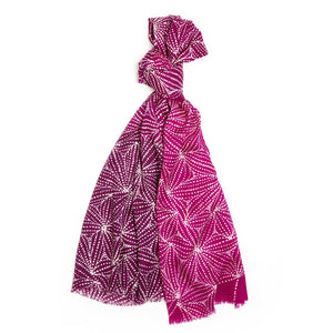 Cashmere Scarf - Gathering Mussels : Pink
