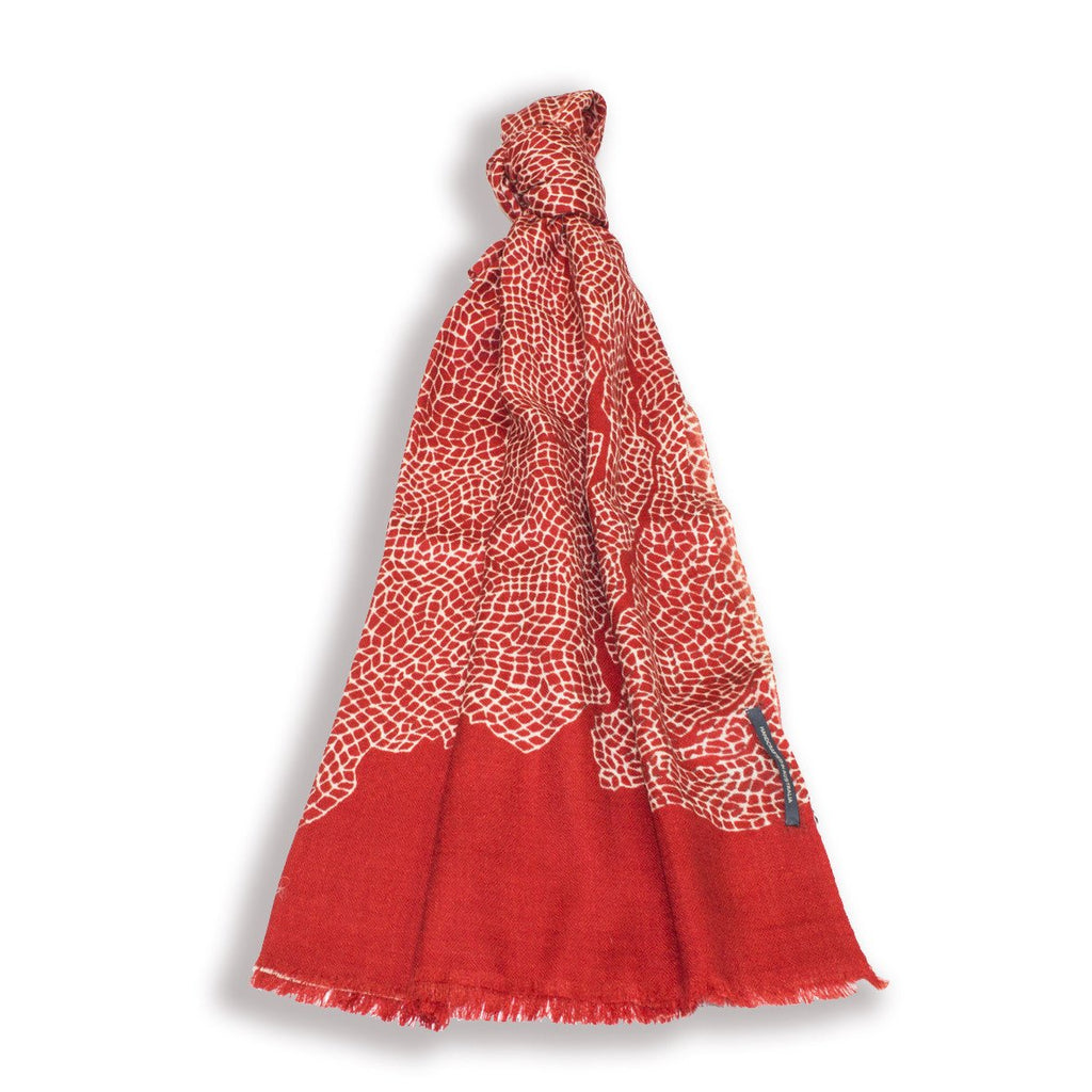 Cashmere Scarf - Topography Red