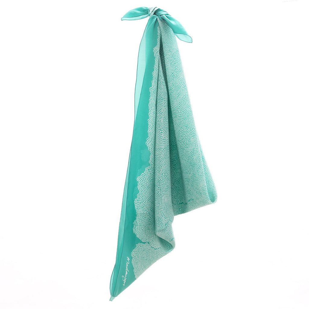 Silk Habutai Scarve - Topography : Teal
