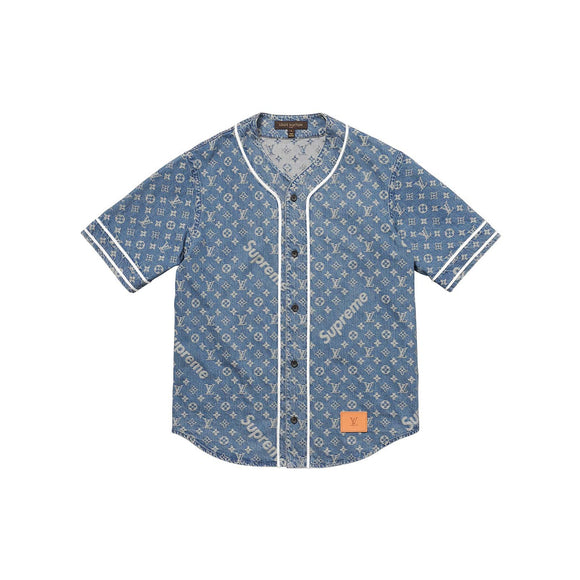 Louis Vuitton x Supreme Blue Jacquard Denim Baseball Jersey