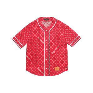 Louis Vuitton x Supreme Red Jacquard Denim Baseball Jersey