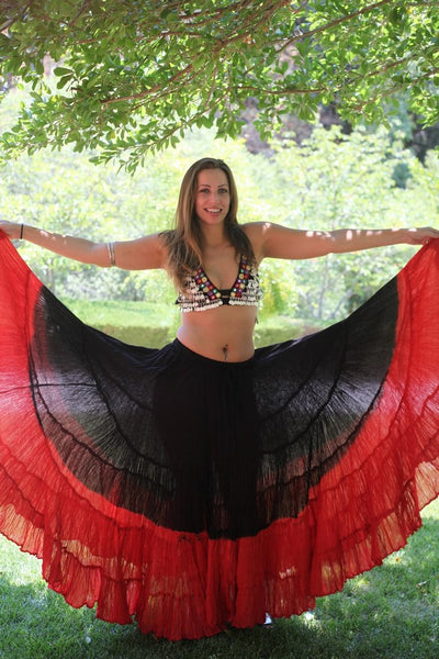 Red and Black 25 Yard Gypsy Tribal Cotton Belly Dance Skirt
