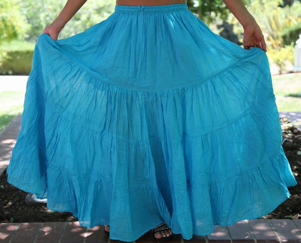 Turquoise Seven 7 Yard Cotton Gypsy Belly Dance Skirt