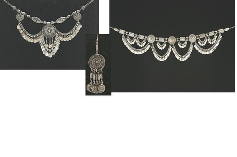 Silver Antique Style Set (Belt, Necklace and Earrings)