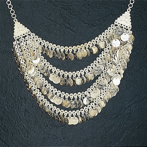 Silver Belly Dance Coin Necklace Jewelry