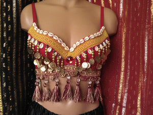 Red Tribal Belly Dance Bra Top Cowrie Shells Coins with Tassels