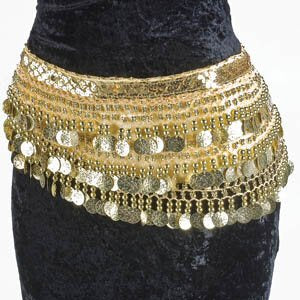 Champagne Belly Dance Velvet Hip Scarf Silver Gold Coins Sequins