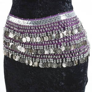 Purple Belly Dance Velvet Hip Scarf Silver Gold Coins Sequins