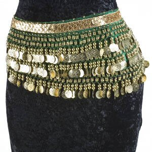 Emerald Green Belly Dance Velvet Hip Scarf Silver Gold Coins Sequins
