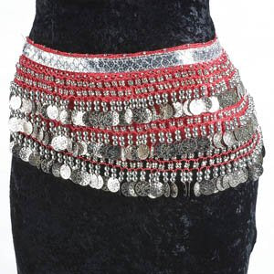 Magenta Belly Dance Velvet Hip Scarf Silver Gold Coins Sequins