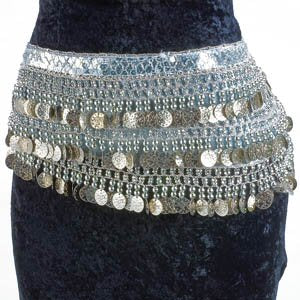 Platinum Belly Dance Velvet Hip Scarf Silver Gold Coins Sequins