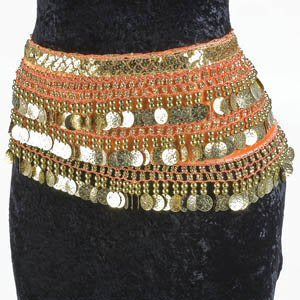 Orange Belly Dance Velvet Hip Scarf Gold Coins Sequins