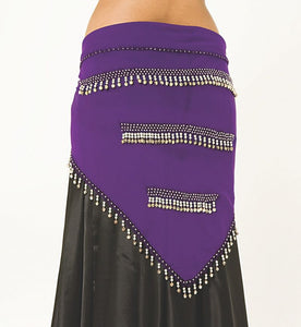 chiffon belly dance hip scarf with musical bells and beads