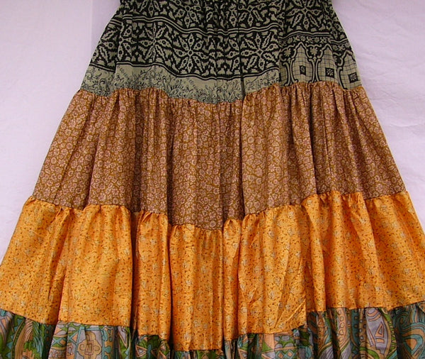 Vintage Silk Sari Skirt for Belly Dance Costume