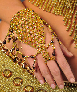 Belly Dance Costume Accessory Beaded Hand Bracelets with Bells