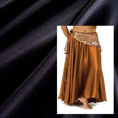 Black Satin Belly Dance Circle Skirt