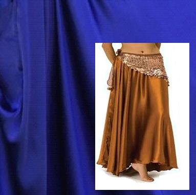 Royal Blue Satin Belly Dance Costume Skirt