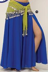 Blue 3-Panel Chiffon Belly Dance Slit Skirt