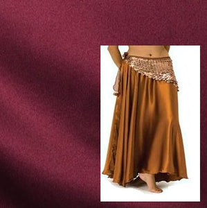Burgundy Satin Belly Dance Circle Skirt