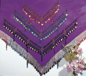 Chiffon Hip Scarf with Multi Color Beads and Coins