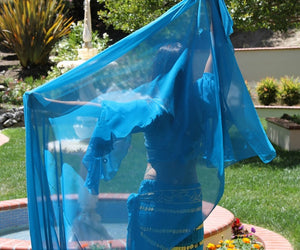 Turquoise Chiffon 3 Yard Belly Dance Veil