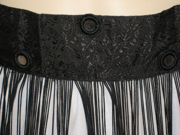 Black Tribal Belly Dance Fringe Hip Wrap Belt Scarf with Mirrors