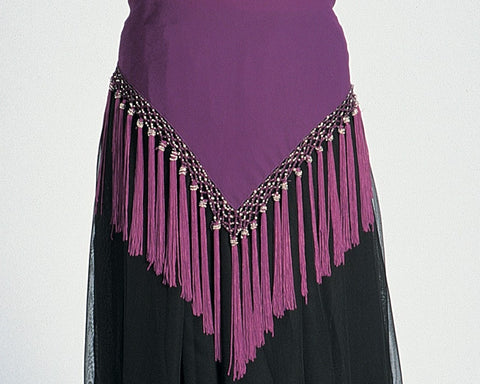 Chiffon Belly Dance Hip Scarf Tassels Beads Gold Silver Accents