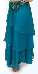 Turquoise 3 Layer Sequined Belly Dance Skirt
