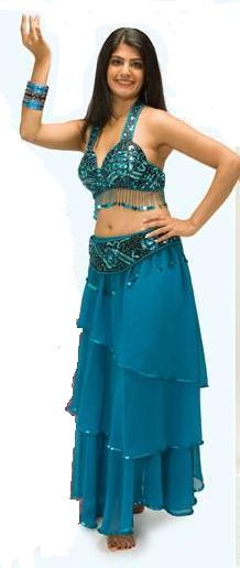 Turquoise Chiffon 3-Tier Belly Dance Skirt Sequin Edge