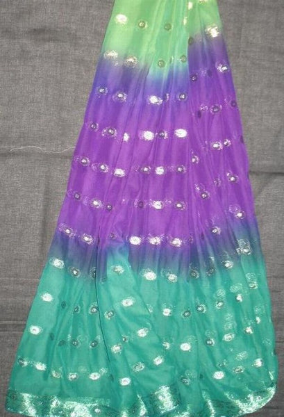 3 Yard Chiffon Belly Dance Veil Green Purple Sari Saree Border