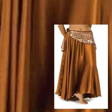 Copper Satin Belly Dance Costume Skirt