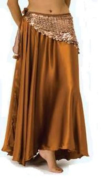 Long Length Copper Satin Belly Dance Skirt