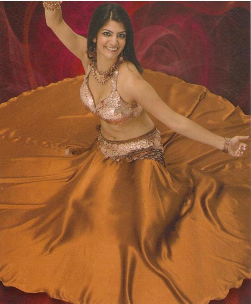 Copper Satin Belly Dance Skirt