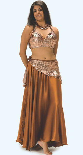 Heavily Coined Hip Wrap on Metallic Chiffon