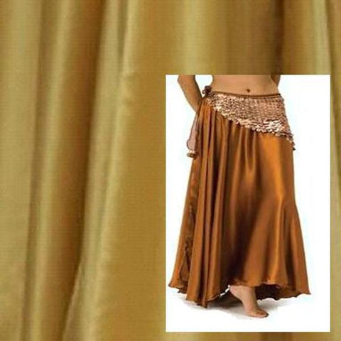 Gold Satin Belly Dance Circle Skirt