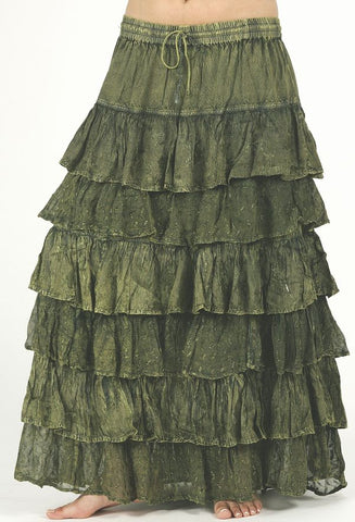 Moss Green 6 Tiered Ruffles Belly Dance Gypsy Skirt