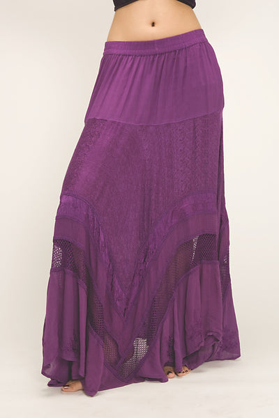 Purple Brocade Gypsy Belly Dance Skirt