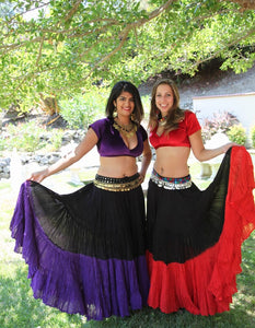 25 Yard Purple Black Tribal Gypsy Cotton Belly Dance Skirt
