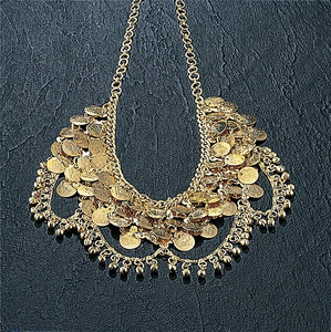 Necklace with Bells Coins Chain Loops