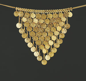 Gold Silver Belly Dance Costume V-Shape Coin Necklace