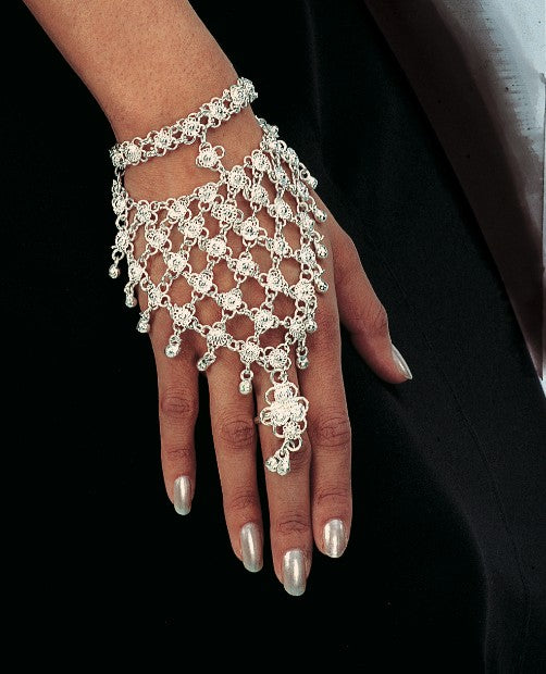 Silver Belly Dance Costume Jewelry Hand Bracelet with Single Ring