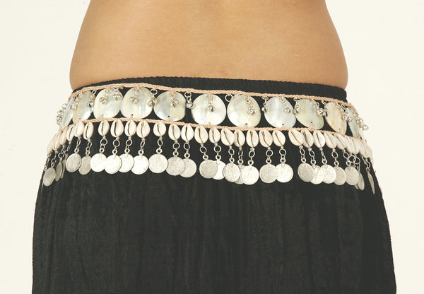 Natural Fiber Necklace and Hip Belt with Cowri Shells Mother-of-Pearl Discs, Bells and Silver Coins