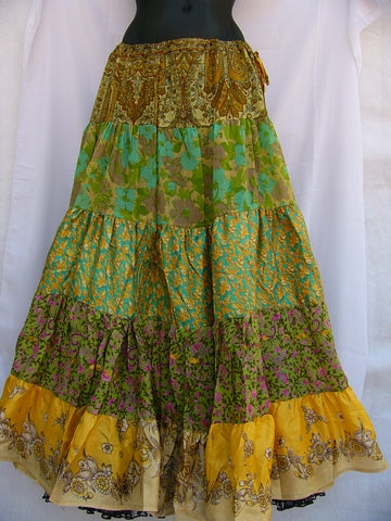 Vintage Sari Silk Skirt Belly Dance Green Brown Cream Yellow
