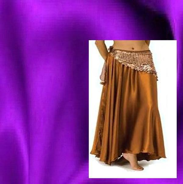 Purple Satin Belly Dance Skirt